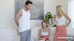 Den attraktiva styvmoren, hennes son och hans flickvän